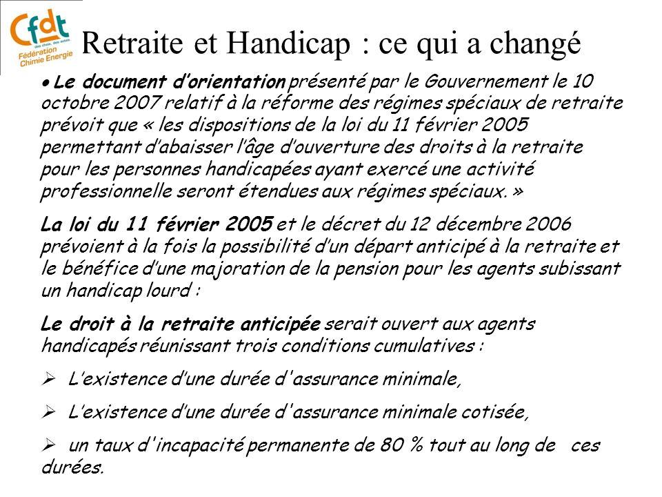 Retraite et Handicap : ce qui a changé Le document dorientation présenté par le Gouvernement le 10 octobre 2007 relatif à la réforme des régimes spéci