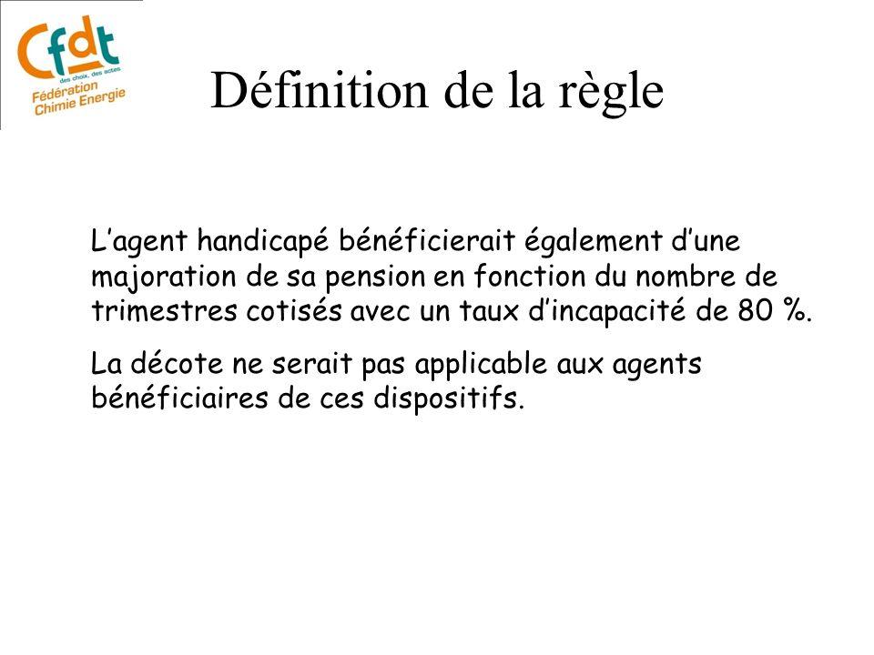 Lagent handicapé bénéficierait également dune majoration de sa pension en fonction du nombre de trimestres cotisés avec un taux dincapacité de 80 %. L