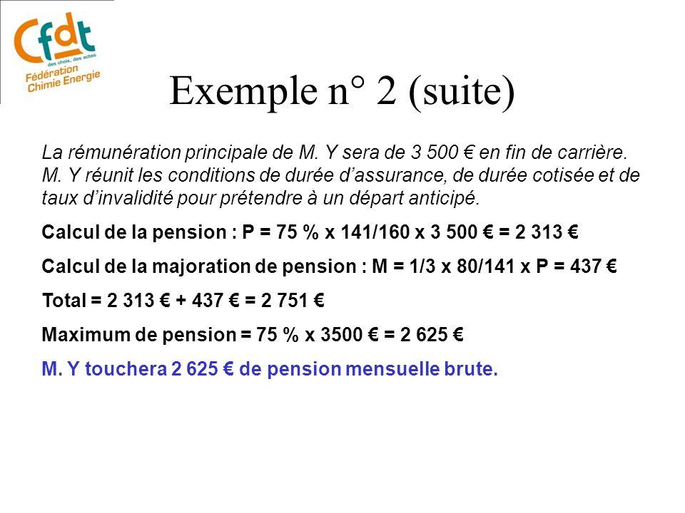La rémunération principale de M. Y sera de 3 500 en fin de carrière. M. Y réunit les conditions de durée dassurance, de durée cotisée et de taux dinva