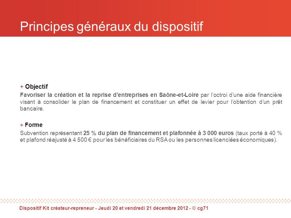 Principes généraux du dispositif + Objectif Favoriser la création et la reprise dentreprises en Saône-et-Loire par loctroi dune aide financière visant à consolider le plan de financement et constituer un effet de levier pour lobtention dun prêt bancaire.