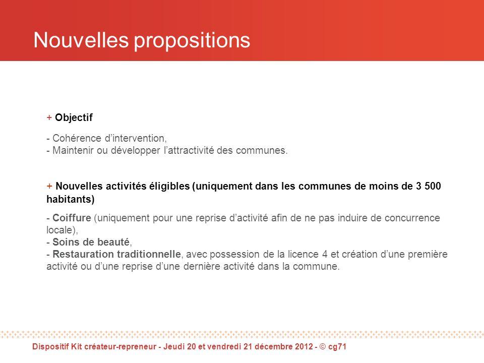 Nouvelles propositions + Objectif - Cohérence dintervention, - Maintenir ou développer lattractivité des communes.