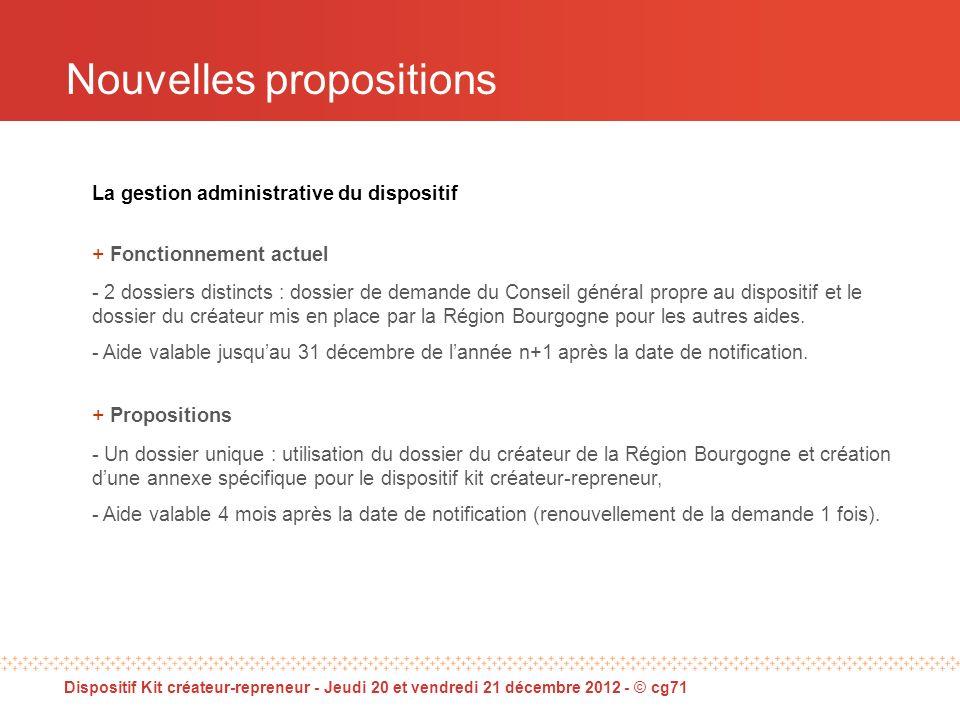 La gestion administrative du dispositif + Fonctionnement actuel - 2 dossiers distincts : dossier de demande du Conseil général propre au dispositif et le dossier du créateur mis en place par la Région Bourgogne pour les autres aides.