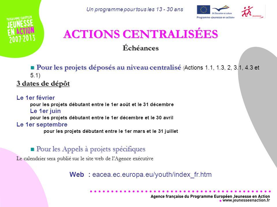 Un programme pour tous les 13 - 30 ans ACTIONS CENTRALISÉES Échéances Pour les projets déposés au niveau centralisé ( Pour les projets déposés au niveau centralisé ( Actions 1.1, 1.3, 2, 3.1, 4.3 et 5.1) 3 dates de dépôt Le 1er février pour les projets débutant entre le 1er août et le 31 décembre Le 1er juin pour les projets débutant entre le 1er décembre et le 30 avril Le 1er septembre pour les projets débutant entre le 1er mars et le 31 juillet Pour les Appels à projets spécifiques Pour les Appels à projets spécifiques Le calendrier sera publié sur le site web de lAgence exécutive Web : eacea.ec.europa.eu/youth/index_fr.htm