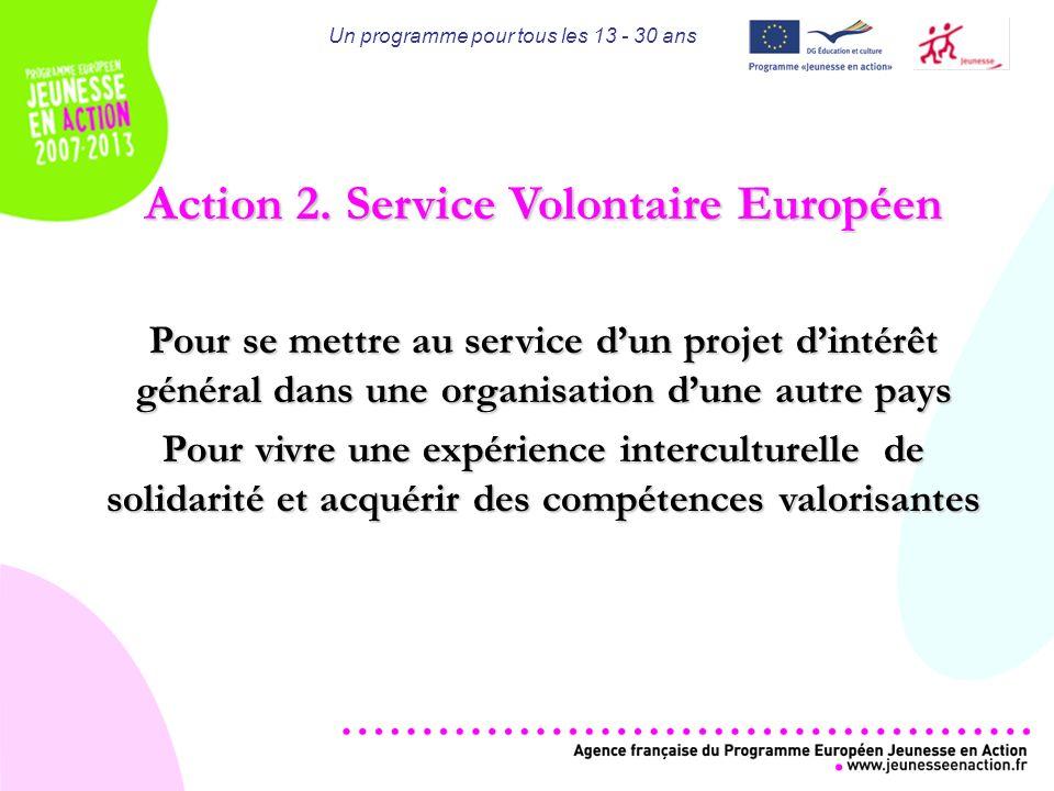 Un programme pour tous les 13 - 30 ans Action 2.