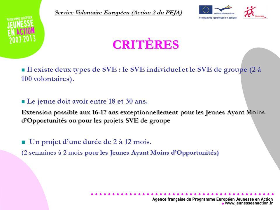 Service Volontaire Européen (Action 2 du PEJA) CRITÈRES Il existe deux types de SVE : le SVE individuel et le SVE de groupe (2 à 100 volontaires).