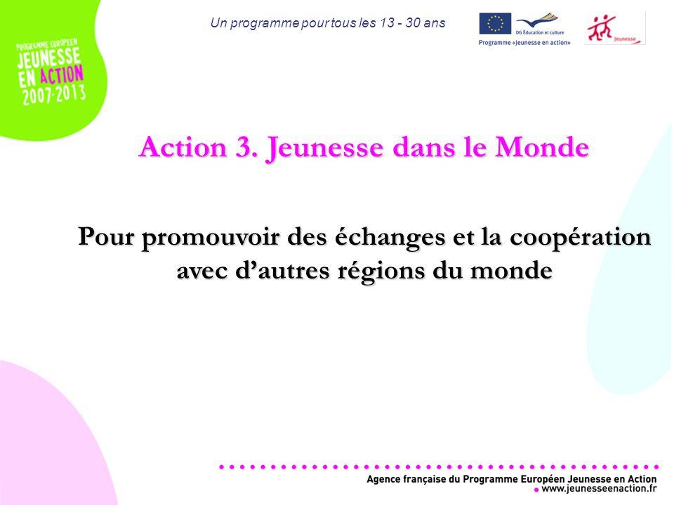 Un programme pour tous les 13 - 30 ans Action 3.