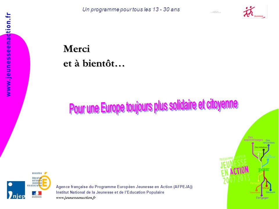 Agence française du Programme Européen Jeunesse en Action (AFPEJA)) Institut National de la Jeunesse et de lEducation Populaire www.jeunesseenaction.fr Un programme pour tous les 13 - 30 ans Merci et à bientôt…