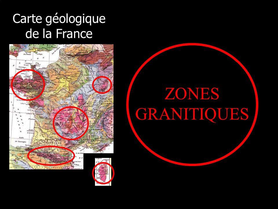 Carte géologique de la France ZONES GRANITIQUES