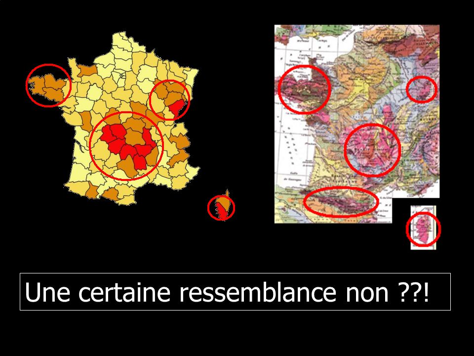 Cartes des zones de radioactivité naturelle Zones ou le taux de radon est supérieur à 101 Bq.m-³
