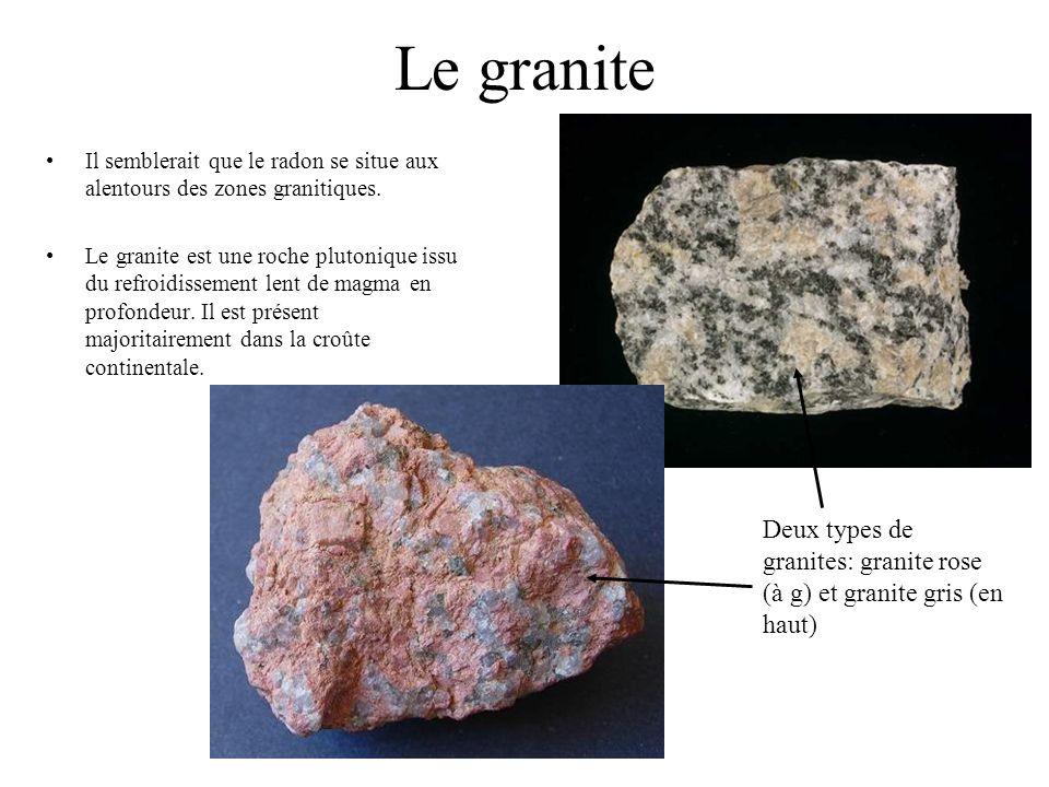 Le granite Il semblerait que le radon se situe aux alentours des zones granitiques.