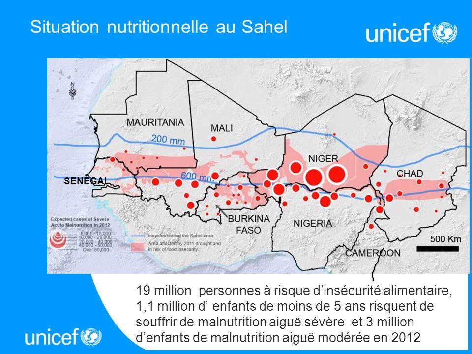 Situation nutritionnelle au Sahel 19 million personnes à risque dinsécurité alimentaire, 1,1 million d enfants de moins de 5 ans risquent de souffrir