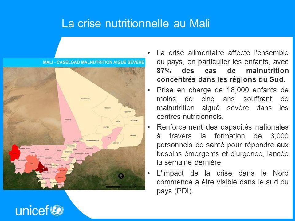 La crise nutritionnelle au Mali La crise alimentaire affecte l'ensemble du pays, en particulier les enfants, avec 87% des cas de malnutrition concentr