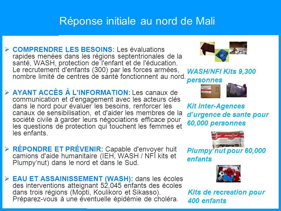 Réponse initiale au nord de Mali COMPRENDRE LES BESOINS: Les évaluations rapides menées dans les régions septentrionales de la santé, WASH, protection