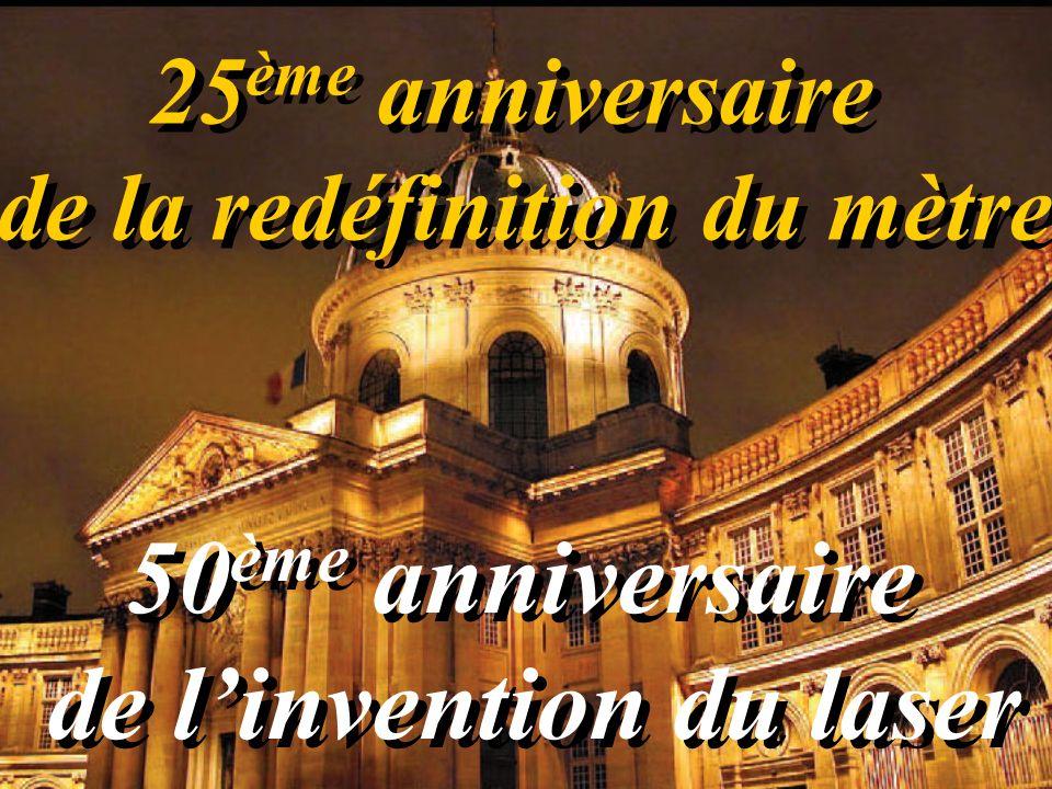 25 ème anniversaire de la redéfinition du mètre 25 ème anniversaire de la redéfinition du mètre 50 ème anniversaire de linvention du laser 50 ème anniversaire de linvention du laser