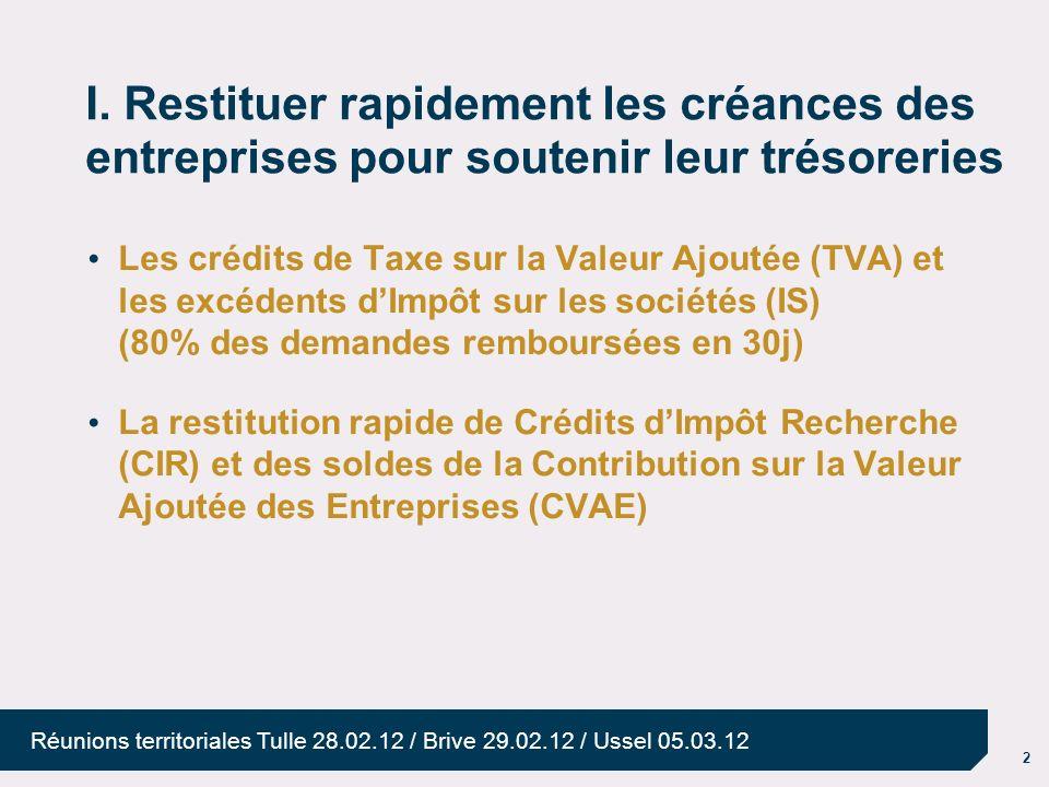 2 Réunions territoriales Tulle 28.02.12 / Brive 29.02.12 / Ussel 05.03.12 I. Restituer rapidement les créances des entreprises pour soutenir leur trés