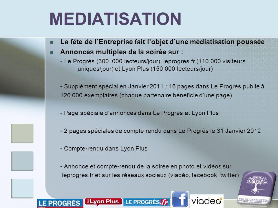 MEDIATISATION La fête de lEntreprise fait lobjet dune médiatisation poussée Annonces multiples de la soirée sur : - Le Progrès (300 000 lecteurs/jour)