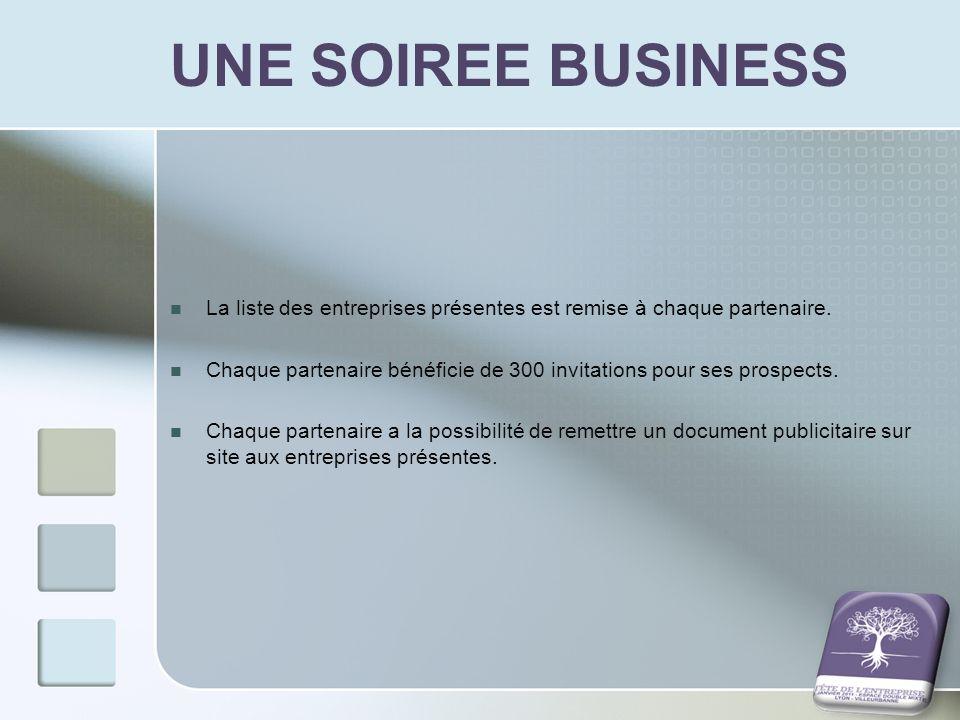 UNE SOIREE BUSINESS La liste des entreprises présentes est remise à chaque partenaire. Chaque partenaire bénéficie de 300 invitations pour ses prospec