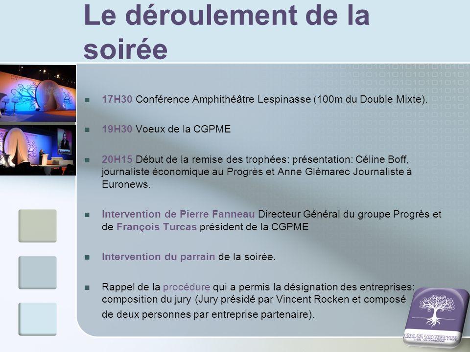 Le déroulement de la soirée 17H30 Conférence Amphithéâtre Lespinasse (100m du Double Mixte). 19H30 Voeux de la CGPME 20H15 Début de la remise des trop