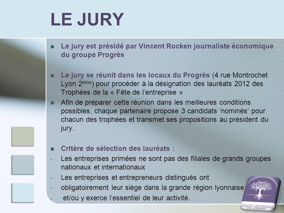 LE JURY Le jury est présidé par Vincent Rocken journaliste économique du groupe Progrès Le jury se réunit dans les locaux du Progrès (4 rue Montrochet