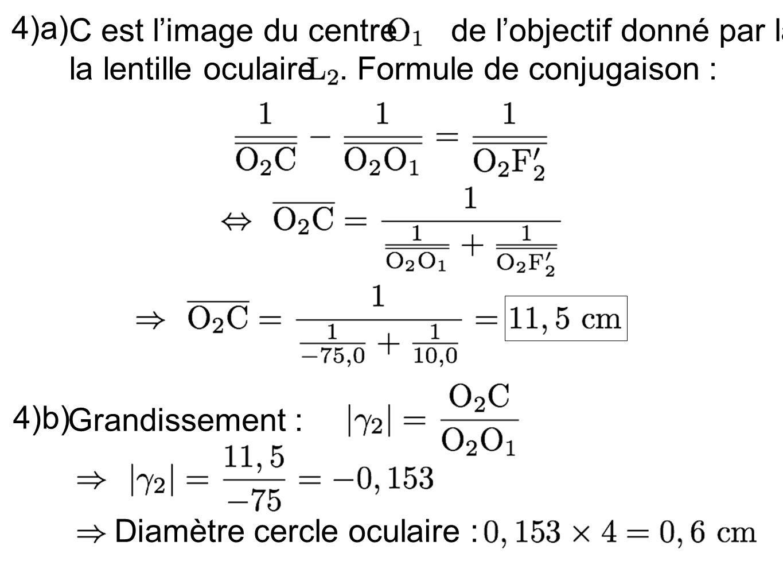 4)a) C est limage du centre de lobjectif donné par la la lentille oculaire. Formule de conjugaison : 4)b) Grandissement : Diamètre cercle oculaire :