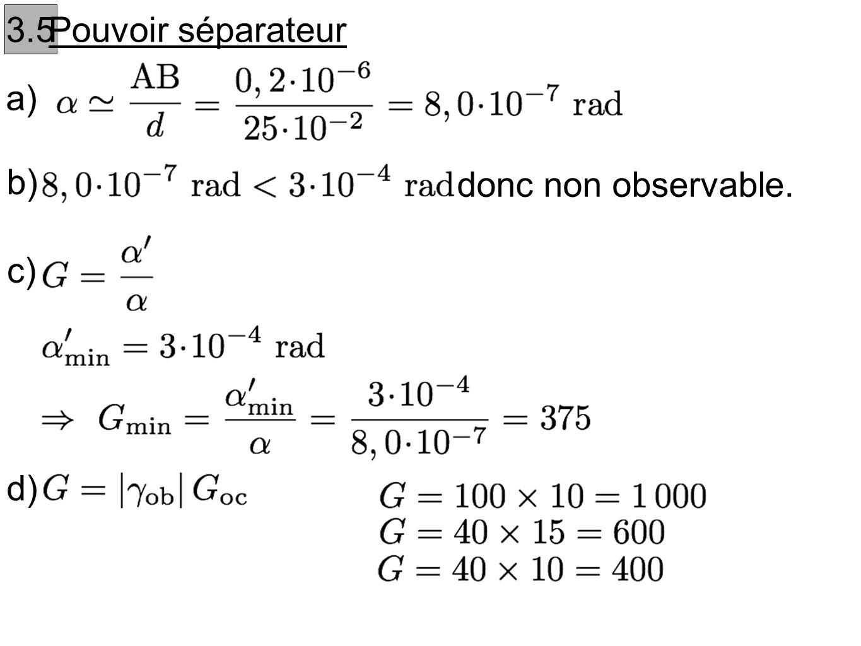 3.5 Pouvoir séparateur a) b) donc non observable. c) d)