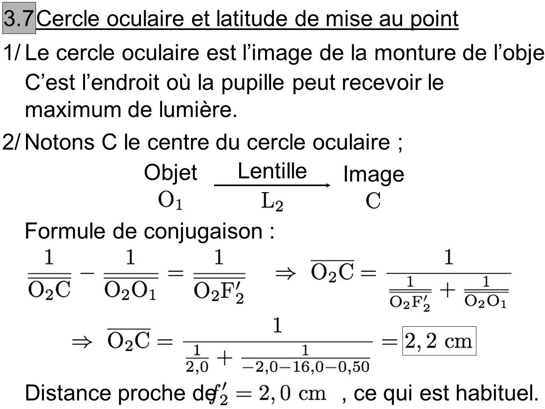 3.7 Cercle oculaire et latitude de mise au point 1/Le cercle oculaire est limage de la monture de lobjectif. Cest lendroit où la pupille peut recevoir