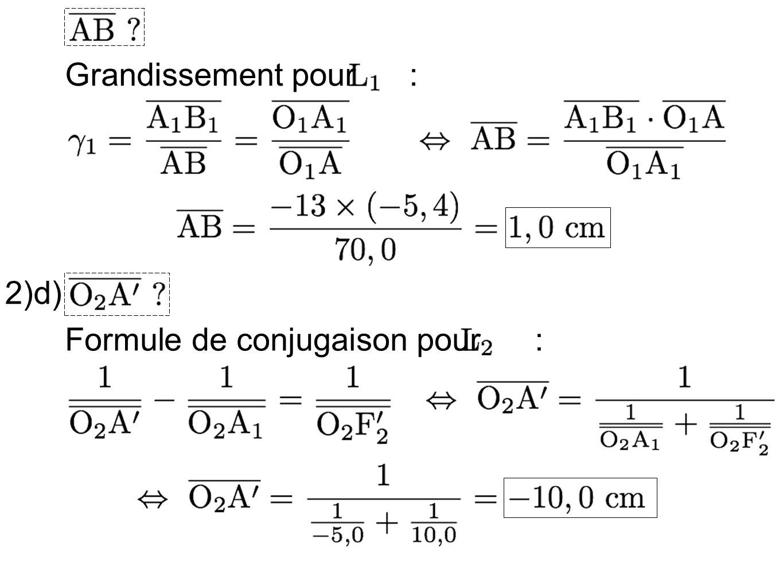 Grandissement pour : 2)e) Grandissement total : 3)a) dans le plan focal objet de loculaire 3)b)On reprends le calcul du 2)c) :