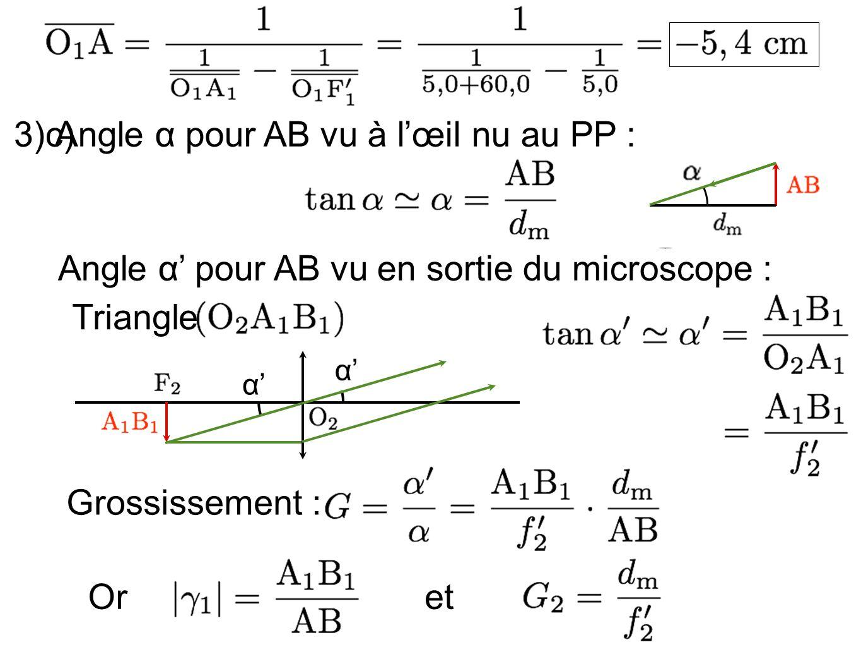 3)c) Angle α pour AB vu à lœil nu au PP : Angle α pour AB vu en sortie du microscope : OretGrossissement : Triangle α α