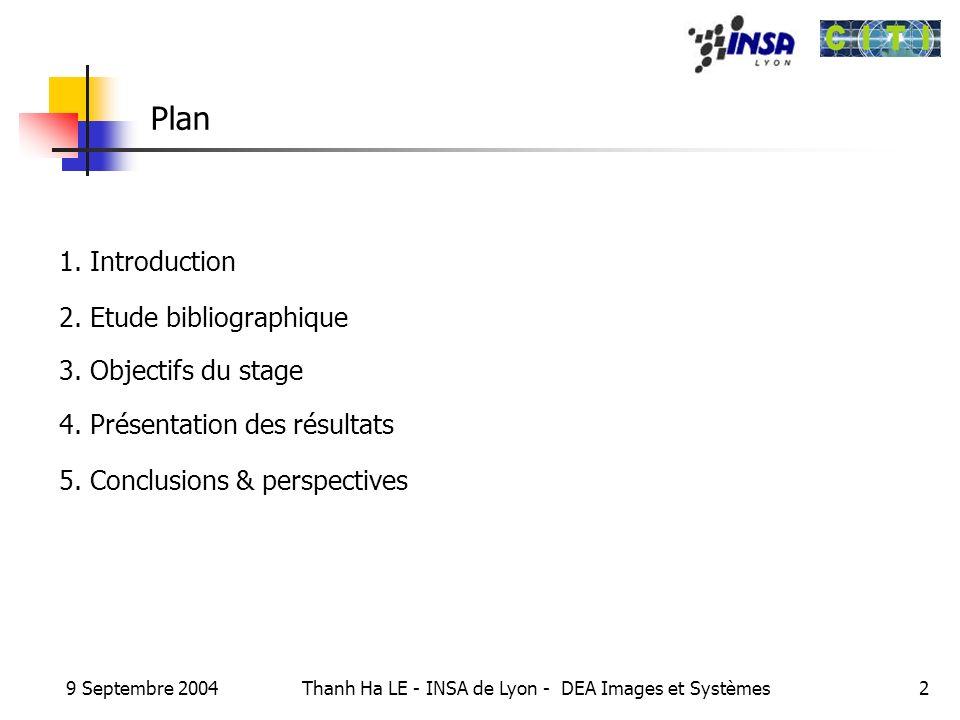 9 Septembre 2004 Thanh Ha LE - INSA de Lyon - DEA Images et Systèmes2 Plan 1. Introduction 2. Etude bibliographique 3. Objectifs du stage 4. Présentat