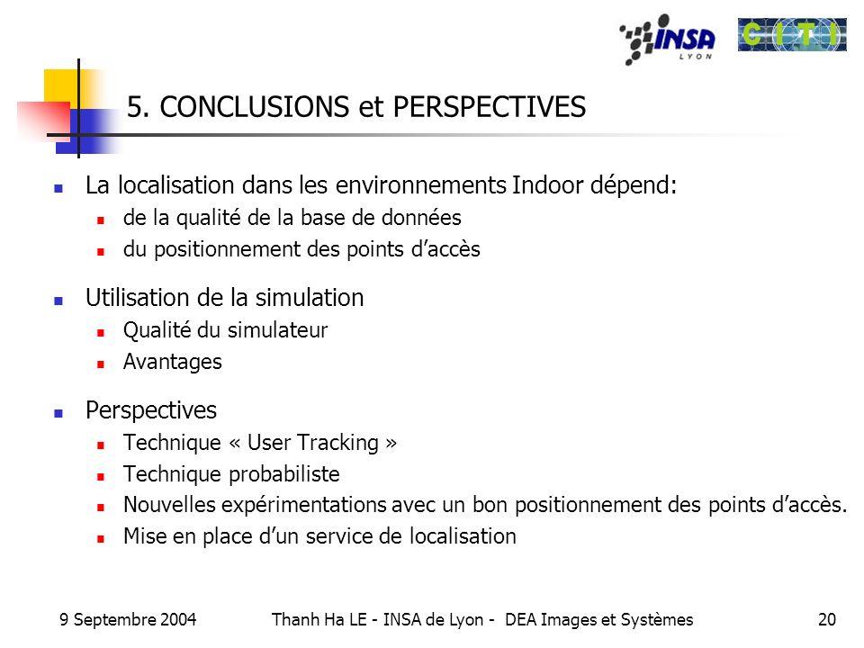 9 Septembre 2004 Thanh Ha LE - INSA de Lyon - DEA Images et Systèmes20 5. CONCLUSIONS et PERSPECTIVES La localisation dans les environnements Indoor d