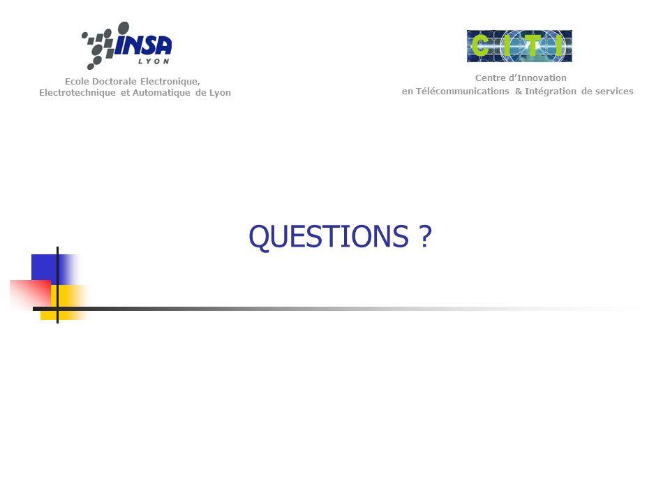 Ecole Doctorale Electronique, Electrotechnique et Automatique de Lyon Centre dInnovation en Télécommunications & Intégration de services QUESTIONS ?