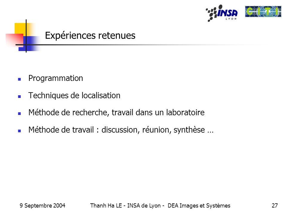 9 Septembre 2004 Thanh Ha LE - INSA de Lyon - DEA Images et Systèmes27 Expériences retenues Programmation Techniques de localisation Méthode de recher