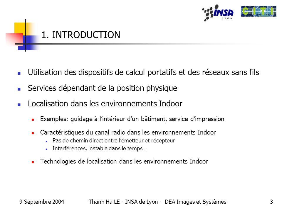 9 Septembre 2004 Thanh Ha LE - INSA de Lyon - DEA Images et Systèmes3 1. INTRODUCTION Utilisation des dispositifs de calcul portatifs et des réseaux s