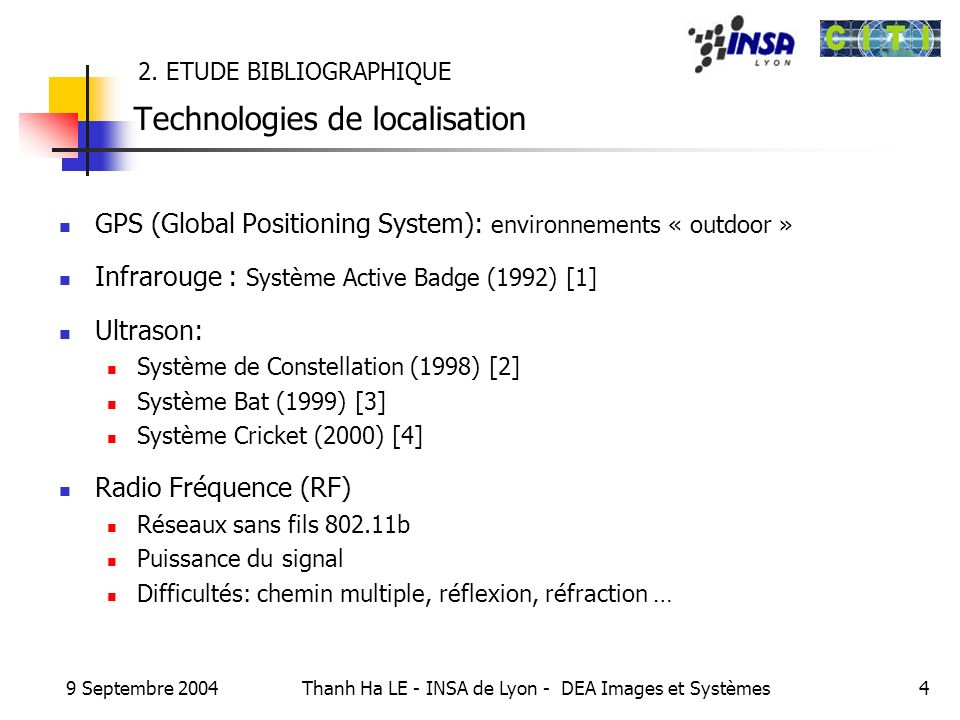 9 Septembre 2004 Thanh Ha LE - INSA de Lyon - DEA Images et Systèmes4 2. ETUDE BIBLIOGRAPHIQUE Technologies de localisation GPS (Global Positioning Sy