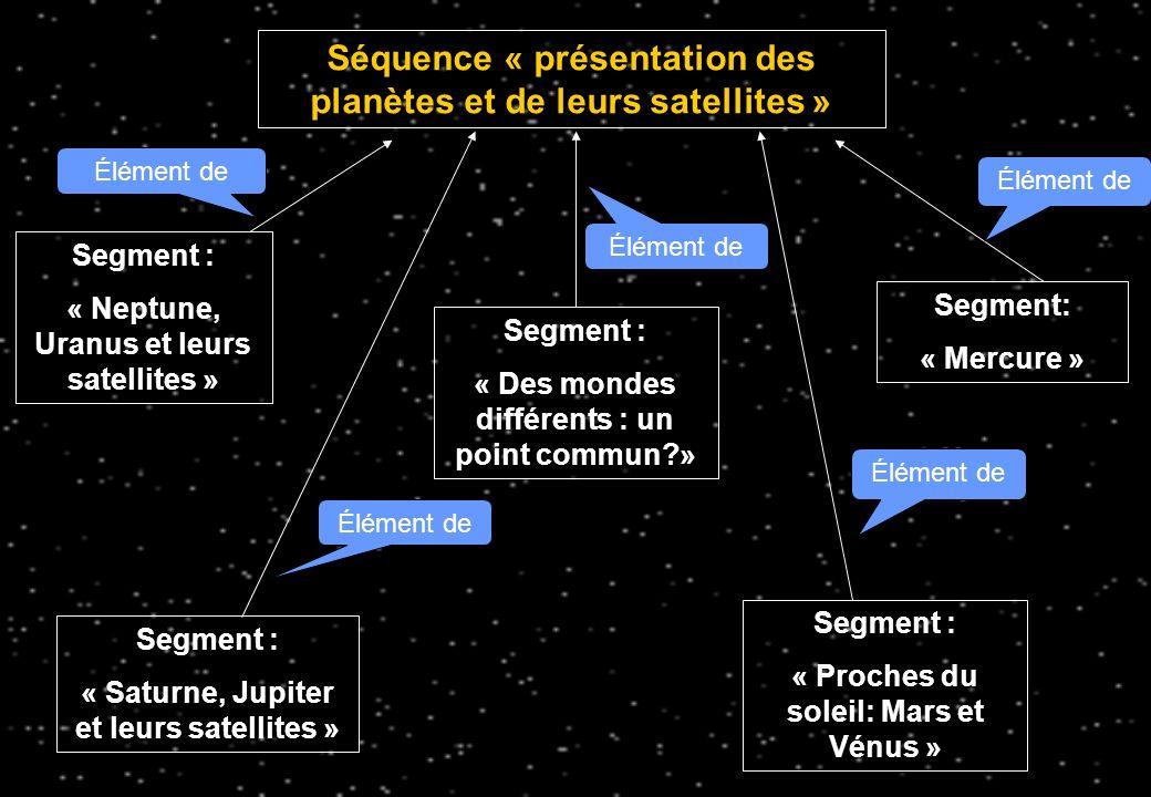 Les segments constitutifs des trois séquences Séquence N° 1 « Présentation des planètes et des satellites » N° IdIntitulé du segmentDescription I.1 Segment « Des mondes différents: un point commun.