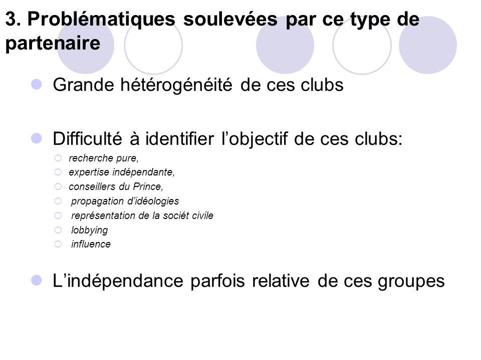 3. Problématiques soulevées par ce type de partenaire Grande hétérogénéité de ces clubs Difficulté à identifier lobjectif de ces clubs: recherche pure