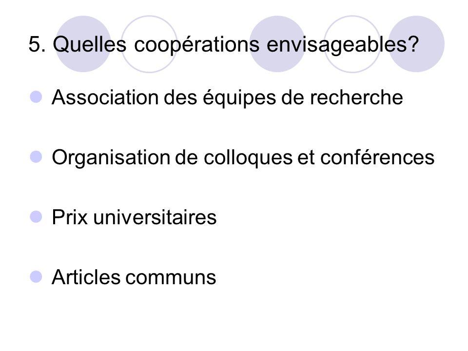 5. Quelles coopérations envisageables? Association des équipes de recherche Organisation de colloques et conférences Prix universitaires Articles comm