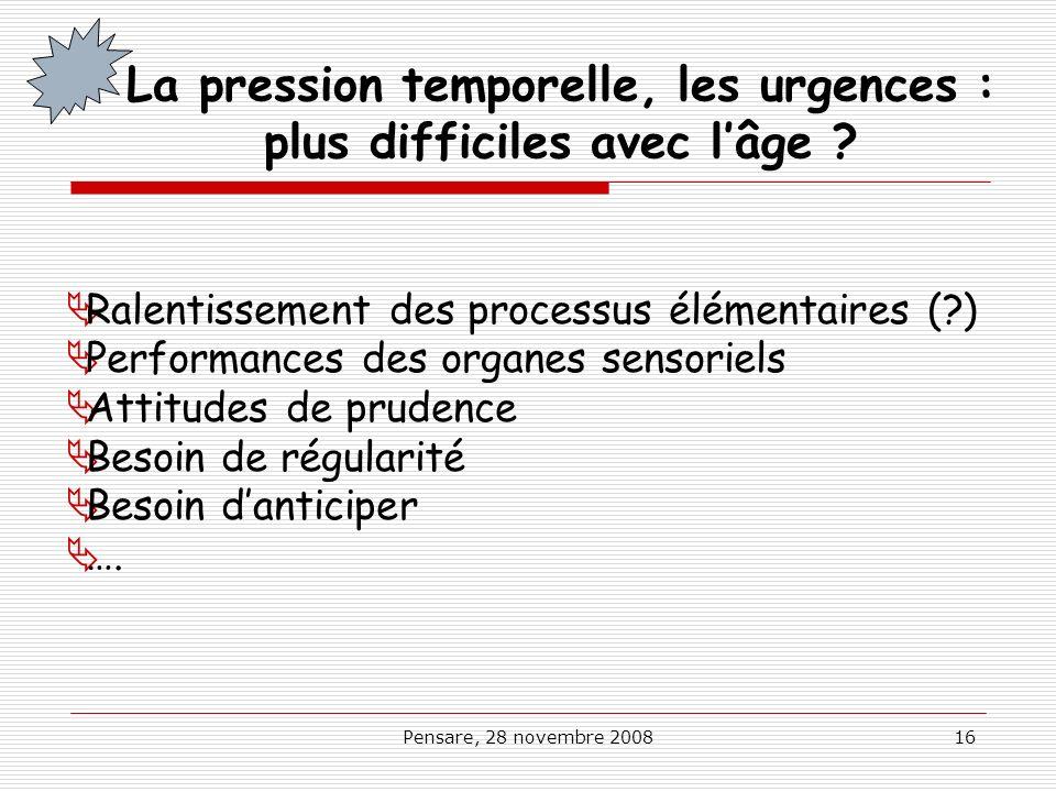 Pensare, 28 novembre 200816 La pression temporelle, les urgences : plus difficiles avec lâge ? Ralentissement des processus élémentaires (?) Performan