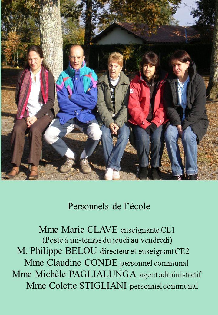 Personnels de lécole Mme Marie CLAVE enseignante CE1 (Poste à mi-temps du jeudi au vendredi) M. Philippe BELOU directeur et enseignant CE2 Mme Claudin
