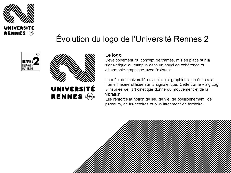 Le logo Développement du concept de trames, mis en place sur la signalétique du campus dans un souci de cohérence et dharmonie graphique avec lexistan