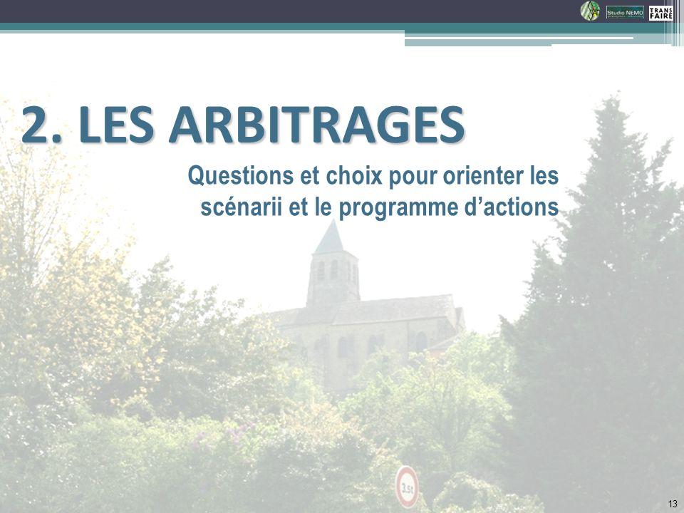 Questions et choix pour orienter les scénarii et le programme dactions 2. LES ARBITRAGES 2. LES ARBITRAGES 13