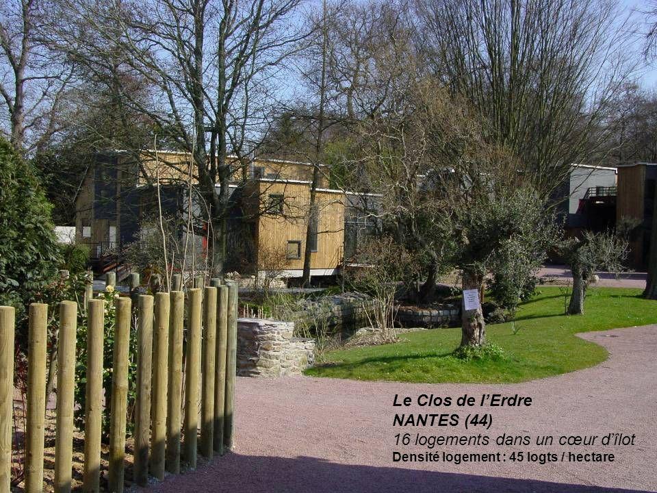 Le Clos de lErdre NANTES (44) 16 logements dans un cœur dîlot Densité logement : 45 logts / hectare