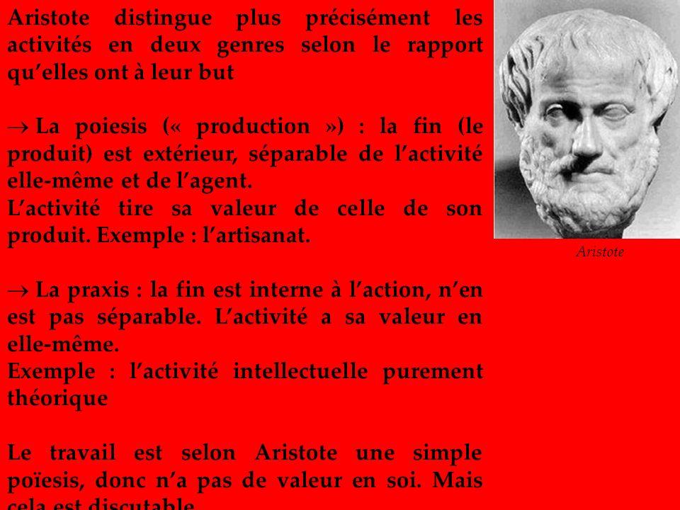 Aristote distingue plus précisément les activités en deux genres selon le rapport quelles ont à leur but La poiesis (« production ») : la fin (le prod