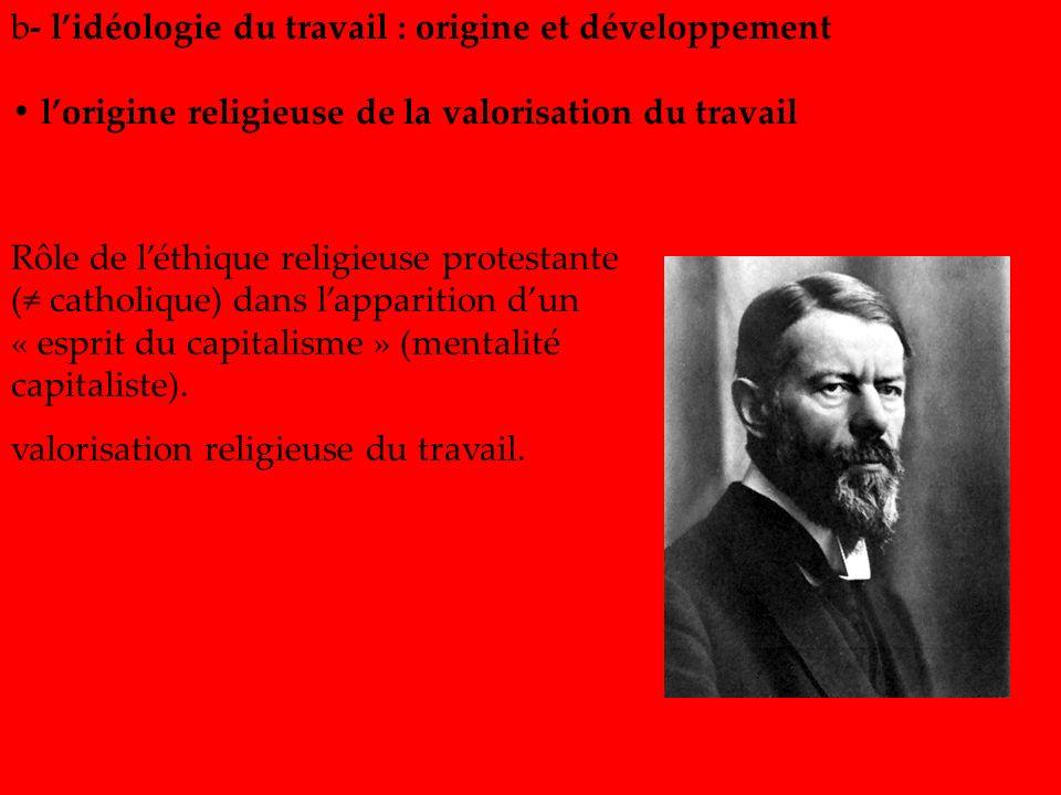 Rôle de léthique religieuse protestante ( catholique) dans lapparition dun « esprit du capitalisme » (mentalité capitaliste). valorisation religieuse