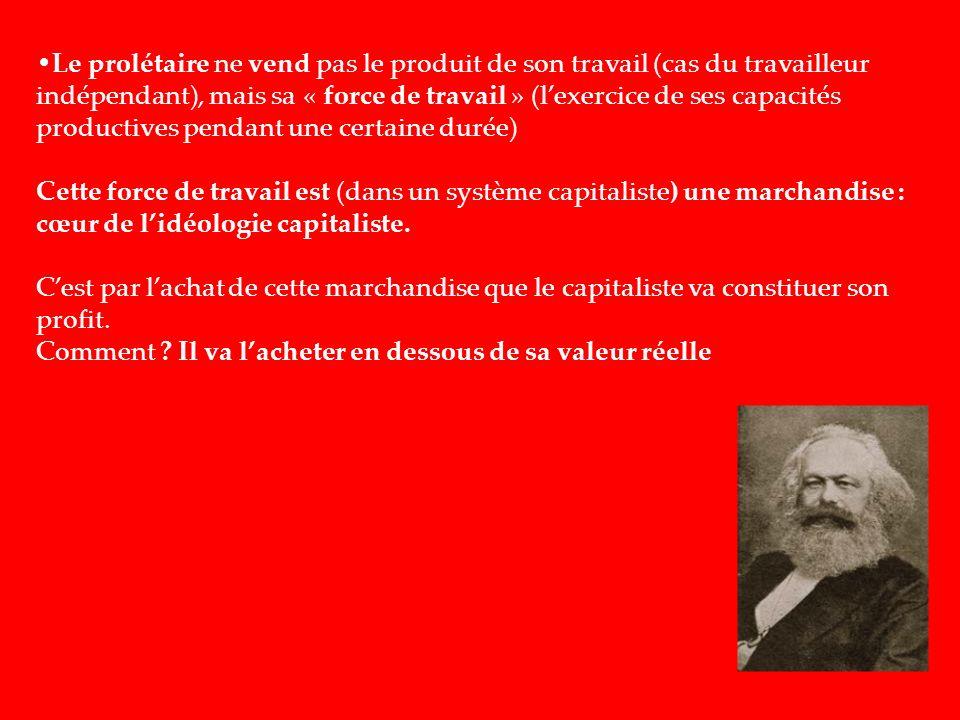 Le prolétaire ne vend pas le produit de son travail (cas du travailleur indépendant), mais sa « force de travail » (lexercice de ses capacités product