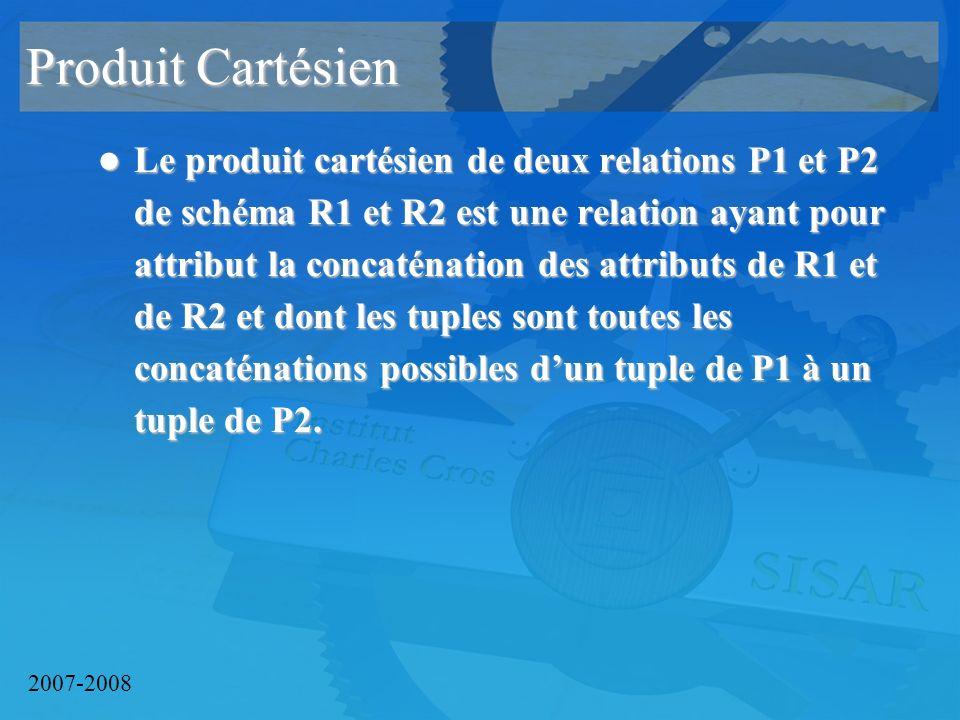 2007-2008 Produit Cartésien Le produit cartésien de deux relations P1 et P2 de schéma R1 et R2 est une relation ayant pour attribut la concaténation des attributs de R1 et de R2 et dont les tuples sont toutes les concaténations possibles dun tuple de P1 à un tuple de P2.