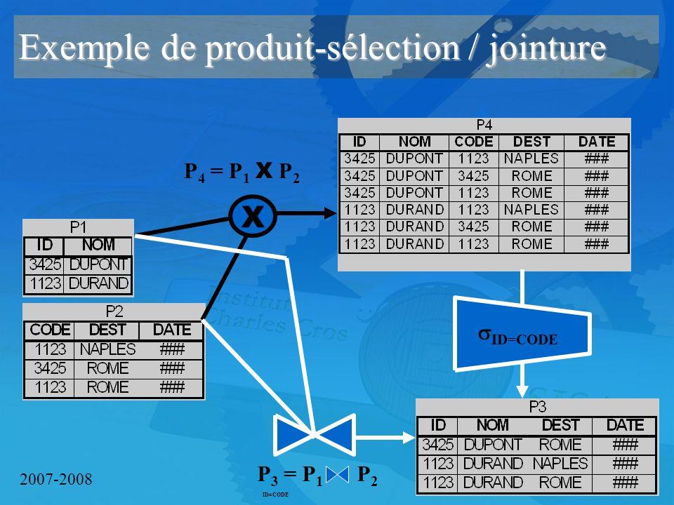2007-2008 Exemple de produit-sélection / jointure X P 4 = P 1 X P 2 ID=CODE P 3 = P 1 P 2 ID=CODE