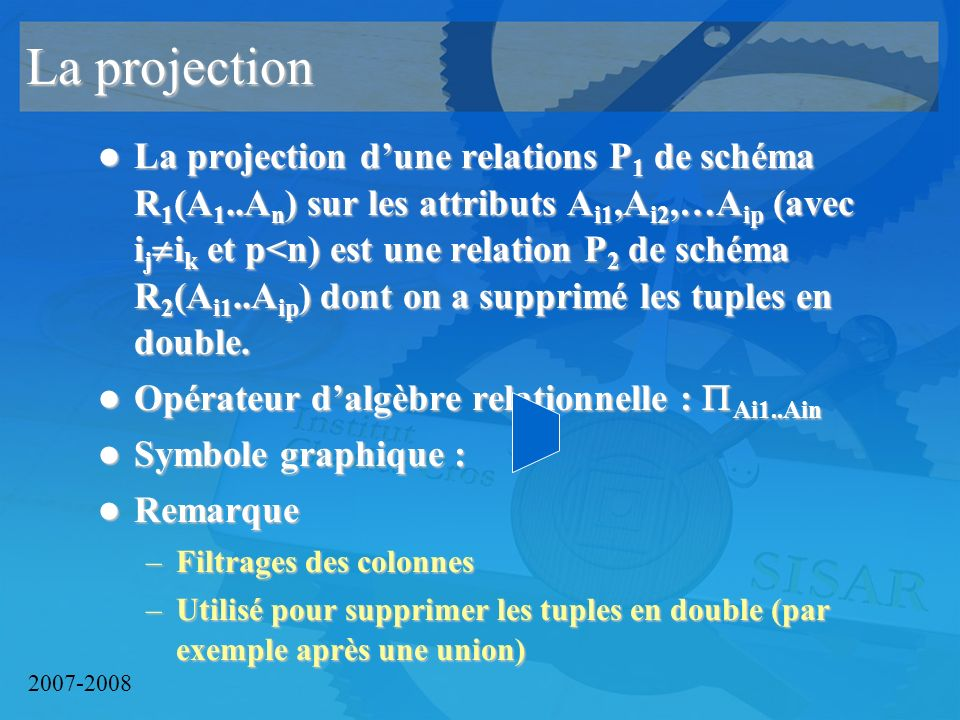 2007-2008 La projection La projection dune relations P 1 de schéma R 1 (A 1..A n ) sur les attributs A i1,A i2,…A ip (avec i j i k et p<n) est une relation P 2 de schéma R 2 (A i1..A ip ) dont on a supprimé les tuples en double.