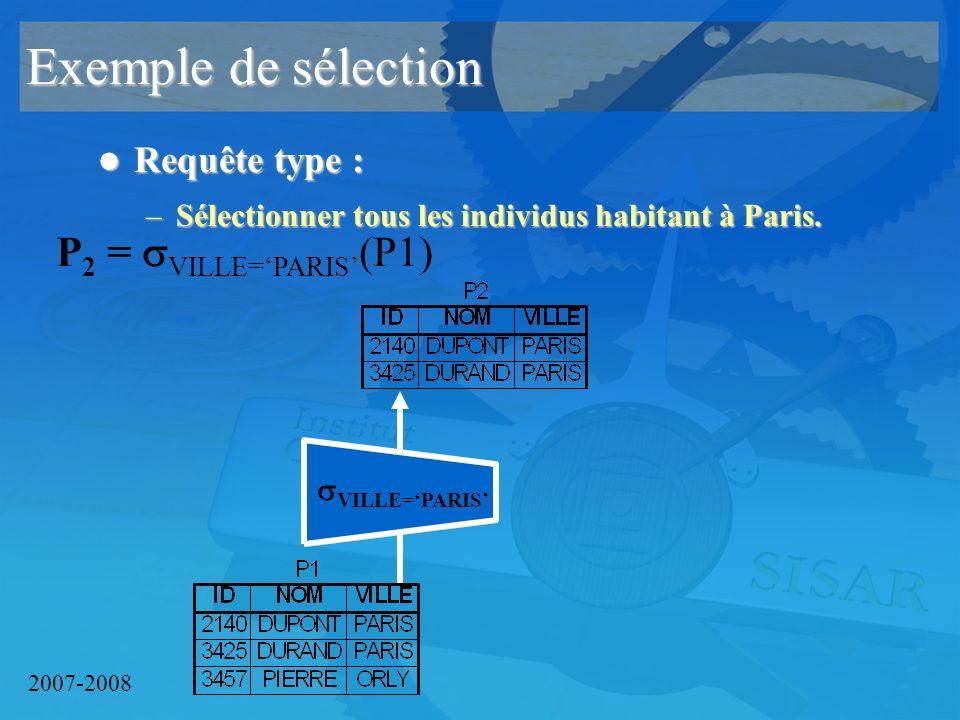 2007-2008 Exemple de sélection Requête type : Requête type : –Sélectionner tous les individus habitant à Paris.