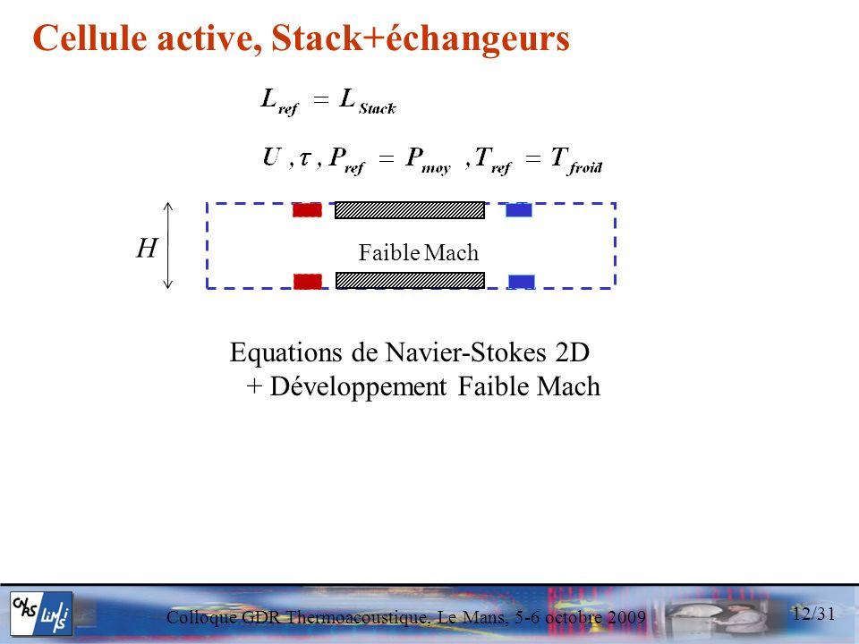 Colloque GDR Thermoacoustique, Le Mans, 5-6 octobre 2009 Equations de Navier-Stokes 2D + Développement Faible Mach Faible Mach Cellule active, Stack+é